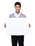Businessman hold with white board Royalty Free Stock Photos