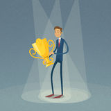 Businessman Hold Winner Cup First 1 Place. Flat Retro Vector Illustration Stock Photos