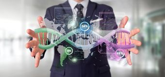 Free Businessman Holding A DNA Over A World Map With Geographic Localization - Genealogy Concept - 3d Rendering Stock Photos - 168283643