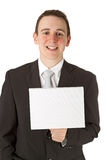 Businessman Holding A Whiteboard Royalty Free Stock Photography