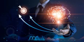Businessman holding abstract brain and icon digital marketing, strategy and growtn investment