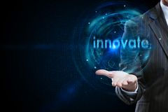 Future and innovate concept. Businessman holding abstract digital innovation bubble on dark background with copy space. Future and innovate concept. 3D Rendering royalty free stock images