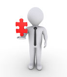 Businessman holding on air puzzle piece. 3d businessman is holding on air a red puzzle piece Royalty Free Stock Photos