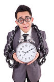 Businessman holding alarm clock isolated on white Royalty Free Stock Image