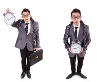 The businessman holding alarm clock isolated on white Stock Photography