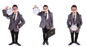 The businessman holding alarm clock isolated on white Royalty Free Stock Photo