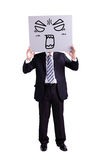 Businessman holding angry expression billboard. With isolated white background Royalty Free Stock Photos