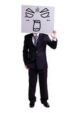Businessman holding angry expression billboard. And thumb up with isolated white background Royalty Free Stock Image