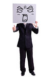 Businessman holding angry expression billboard. And thumb up with isolated white background Stock Image