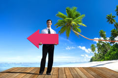 Businessman Holding Arrow Sign Direction Leading Concept Royalty Free Stock Photos