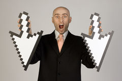 Businessman holding arrows Stock Image