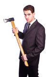 Businessman holding an ax Stock Photography