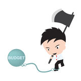 Businessman holding axe and aiming to cut the chain with wording Royalty Free Stock Photos