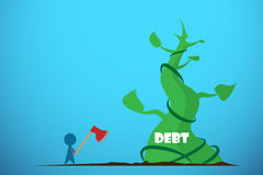 Businessman holding axe to cut giant beanstalk, debt and business concept. Vector and illustration Stock Photography