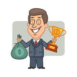 Businessman holding bag of money and cup Stock Photo