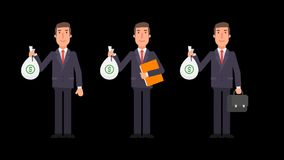 Businessman holding bag of money folder and suitcase. Alpha channel. Motion graphics. Animation video stock footage