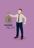 Businessman Holding Bag of Money Vector Cartoon Business Illustr. Vector business illustration of cartoon businessman character holding bag of money with text Stock Photo