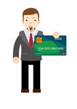 Businessman holding a bank card - flat design Stock Image