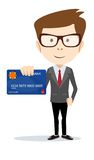 Businessman holding a bank card - vector Royalty Free Stock Photos