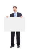 Businessman holding a banner Stock Image