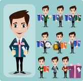 Businessman holding a big gift box. set Stock Photos