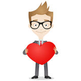 Businessman holding big heart Stock Photo