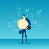 Businessman holding big light bulb idea with icons and elements. Character design. Cartoon Vector Illustration Royalty Free Stock Image