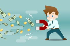 Businessman holding big magnets to get attract coins and banknotes. .Business people making Investment, profit, income. ใ ฮำแะนพ รสสีหะพฟะรนื กำหรเืใ vector illustration
