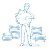 Businessman holding a big piggy bank. Stock Image