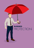 Businessman Holding Big Red Umbrella Vector Business Illustration on Protection Concept. Cartoon businessman holding a big red umbrella isolated on plain purple vector illustration