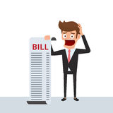 Businessman holding bills feels headache and worries about paying a lot of bills. Businessman no money. Debt concept. Cartoon Vector Illustration Royalty Free Stock Images