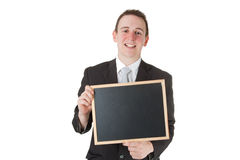 Businessman holding a blackboard Royalty Free Stock Photo