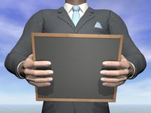 Businessman holding blackboard - 3D render. Businessman holding blank blackboard in hands - 3D render Stock Photography
