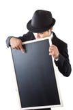 Businessman holding a blackboard. Royalty Free Stock Photography