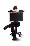 Businessman holding a blackboard. Royalty Free Stock Photo