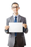 Businessman holding blank Stock Images