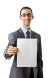 Businessman holding blank Stock Photography