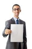 Businessman holding blank Stock Photography
