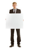 Businessman holding blank banner Royalty Free Stock Photos