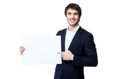 Businessman holding blank Royalty Free Stock Photography