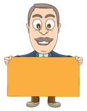 Businessman - Holding a blank board Royalty Free Stock Image