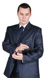 Businessman holding a blank board and a pen Royalty Free Stock Photography