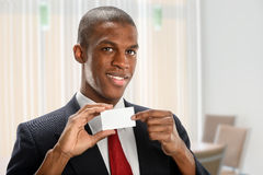 Businessman Holding Blank Business Card Royalty Free Stock Photos