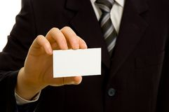 Businessman holding blank business card Royalty Free Stock Photo
