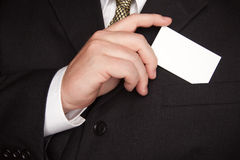 Businessman Holding Blank Business Card Royalty Free Stock Photography