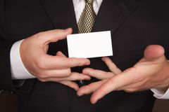 Businessman Holding Blank Business Card Royalty Free Stock Image