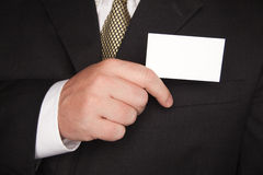 Businessman Holding Blank Business Card Stock Photography