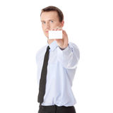 Businessman holding blank card Stock Photography