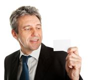 Businessman holding blank card Royalty Free Stock Photo