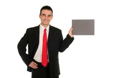 Businessman Holding Blank Card Stock Image